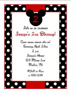 Personalized Mickey Mouse Theme Birthday Party Invitations