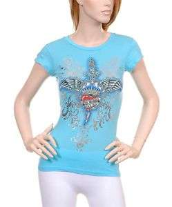 Ladies Blue Old School Rock & Roll fitted T Shirt