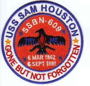 US NAVY SHIP PATCH, USS SAM HOUSTON, SSBN 609 Y