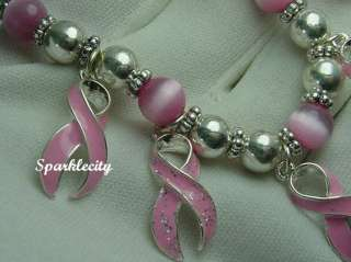 BREAST CANCER RIBBON PENDANT SLIDE & EARRING MIB free BRACELET
