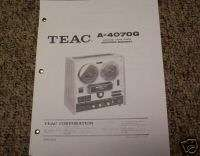 TEAC A 4070G Reel to Reel Service Manual FREE SHIP