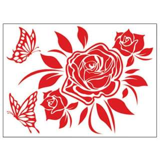 ROSE Flower Adhesive Removable Wall Decor Accents GRAPHIC Stickers