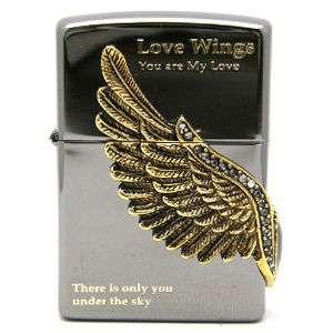 Zippo lighter Japanese Korean black ice love wings you are my love