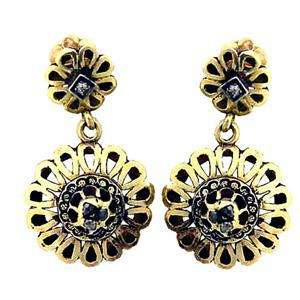 VICTORIAN ANTIQUE 18K GOLD DIAMOND & ENAMEL EARRINGS