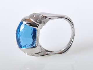 Gadi 18K White Gold Large Diamond Blue Topaz Oval Ring