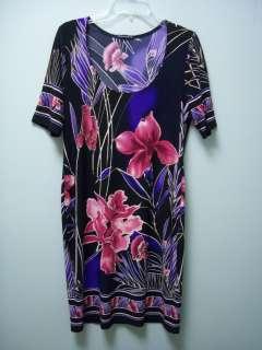 Womens Floral Black Pink Purple Tan Stretch Short Sleeve Dress 8 NEW
