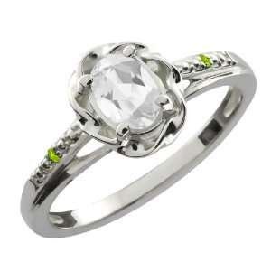56 Ct Oval White Topaz Green Peridot Sterling Silver Ring Jewelry