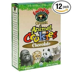 EnviroKidz Organic Animal Cookies, Chocolate, 9 Ounce Boxes (Pack of